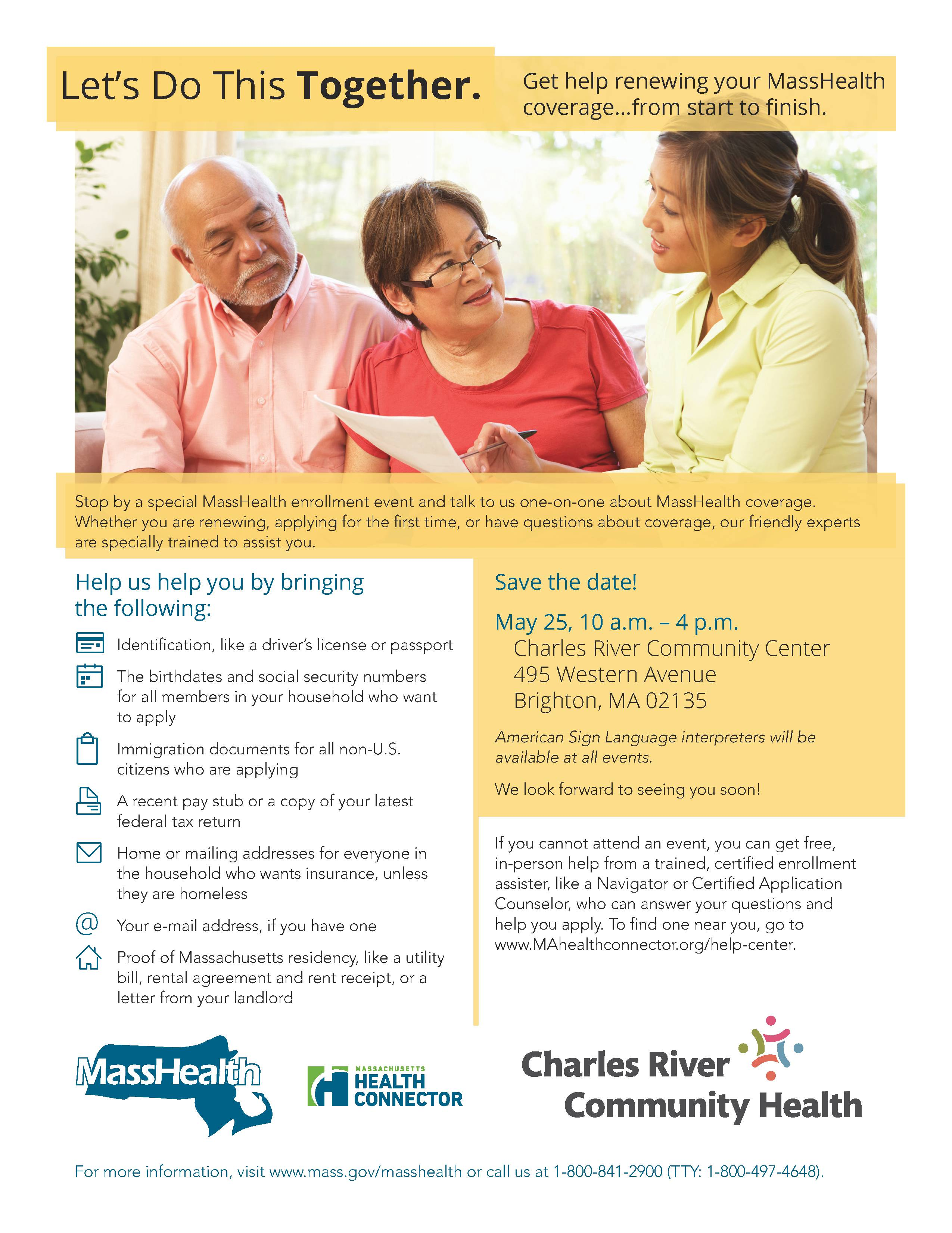Masshealth enrollment fair charles river community health american sign language interpreters will be available at all events click xflitez Image collections